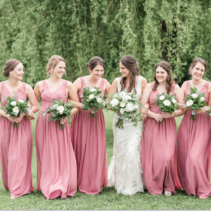 A-Line V-Neck Dusty Rose Chiffon Bridesmaid Dress with Lace Pleats