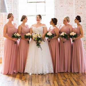 A-Line V-Neck Floor-Length Blush Chiffon Bridesmaid Dress with Pleats