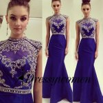 Long Satin Prom/Evening Dress - Royal Blue Mermaid High Neck with Beading