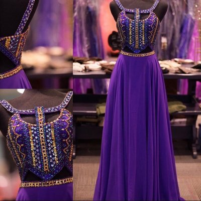 High Quality Floor Length Prom Dress - Purple A-Line with Rhinestone for Women