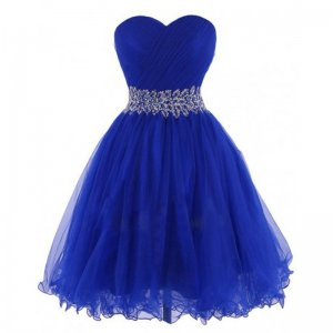 Cheap Short Sweetheart Knee-Length Royal Blue Homecoing Dress with Beading Waist