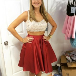 Stylish Two Piece V-neck Open Back Short Red Homecoming Dress with Sequined Top