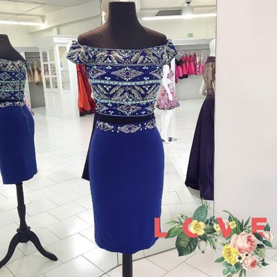 Dignified Off Shoulder Short Sleeves Sheath Royal Blue Homecoming Dress with Beading
