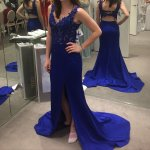 Glamorous Mermaid Royal Blue V-Neck Sleeveless Backless Split Front Long Prom Dress with Appliques