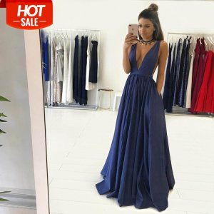 A-Line Deep V-Neck Long Dark Blue Taffeta Prom Dress with Pleats
