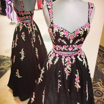 Black Two Piece Lace Straps Floor-Length Prom Dress with Appliques