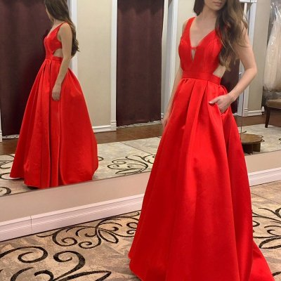 A-line Red Deep V-neck Backless Sweep Train Prom Dress with Pleats Pockets