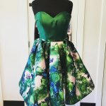 A-Line Sweetheart Sleeveless Short Dark Green Floral Homecoming Dress