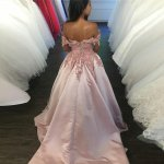 A-Line Off-the-Shoulder Court Train Blush Satin Prom Dress with Appliques