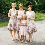 Elegant Square Floral Bridesmaid Dress for Wedding Party