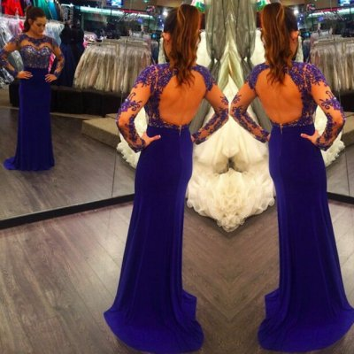 Elegant Long Prom Dress - Royal Blue Backless Appliques with Long Sleeve