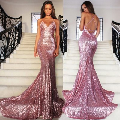 Mermaid Spaghetti Straps Backless Rose Pink Sequined Prom Dress