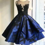 Elegant Illusion Neck Open Back Royal Blue Homecoming Dress with Black Appliques