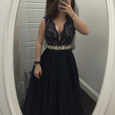 Stunning Navy Blue Prom Dress - V Neck Sleeveless Long with Lace Beaded
