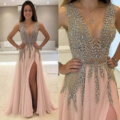 A-Line V-Neck Sweep Train Champagne Chiffon Prom Dress with Beading
