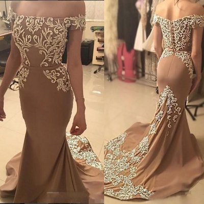 Mermaid Off Shoulder Long Elastic Satin Prom Dress with Sash Beading Appliques