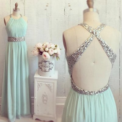 A-Line Round Neck Open Back Mint Green Chiffon Prom Dress with Sequins