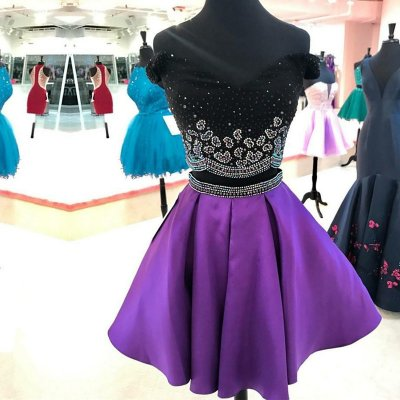 Two Piece Off-the-Shoulder Short Purple Satin Homecoming Dress with Beading