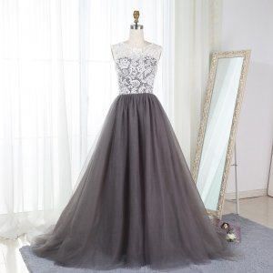 A-Line Scalloped-Edge Gray Tulle Prom Bridesmaid Dress with Lace