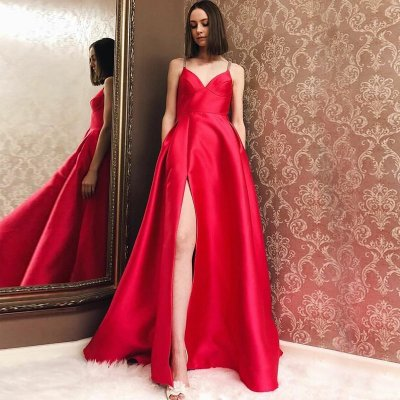 A-Line Spaghetti Straps Long Red Satin Prom Dress with Pockets