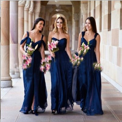 Classic-Timeless A-Line Sweetheart Floor Length Chiffon Royal Blue Bridesmaid Dress With Ruched