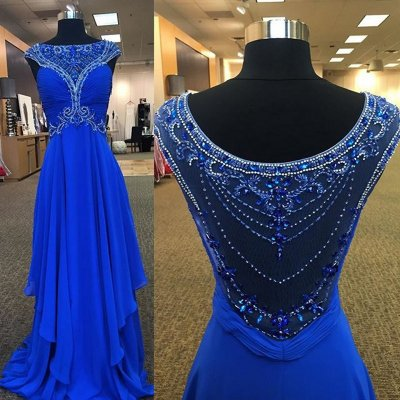 High Quality Long Prom Dress - Royal Blue A-Line with Rhinestone