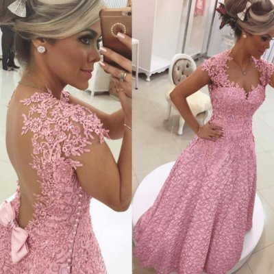 Elegant Long Prom Dress - Lilac Sheath Sweetheart with Lace