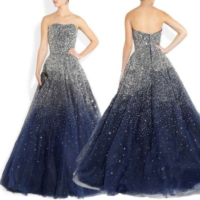 Modern Strapless Beading A-line Navy Blue Formal Evening Prom Dresses