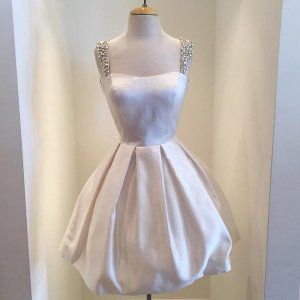 Vintage Square Short Ivory Homecoming Dresses with Beaded