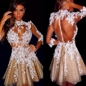 Stunning 3/4 Sleeves Scalloped-Edge Short Gold Homecoming Dress with White Appliques Illusion Back