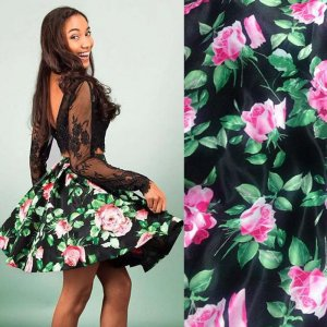 Saucy Two Piece Long Sleeves Short Black Floral Homecoming Dress with Lace