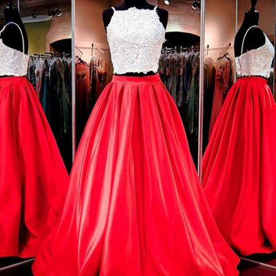 Two Piece Square Floor-Length Red Satin Prom Dress with Appliques