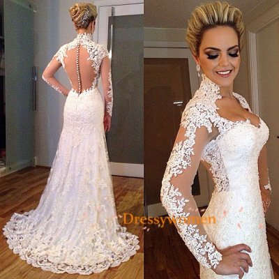 Sheath Elegant Style Hall Neck See through Back Lace Bridal Gown / Sexy Wedding Dresses CHWD-30231 with Appliques