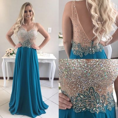 A-line V-neck Sweep Train Backless Prom Dress with Beading