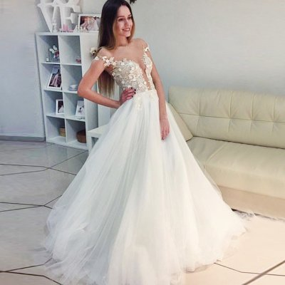 A-Line Illusion Bateau Cap Sleeves White Tulle Prom Dress with Lace Appliques