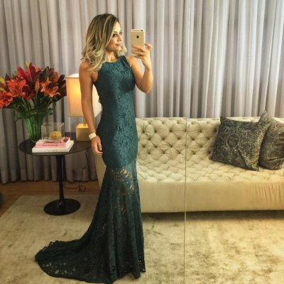 Mermaid Style Jewel Backless Sweep Train Dark Green Lace Prom Dress