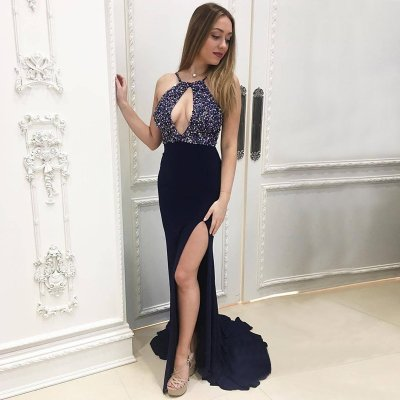 Mermaid Halter Sweep Train Navy Blue Prom Dress with Beading Keyhole