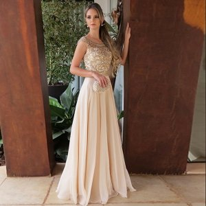 A-Line Round Neck Floor-Length Light Champagne Prom Dress with Beading