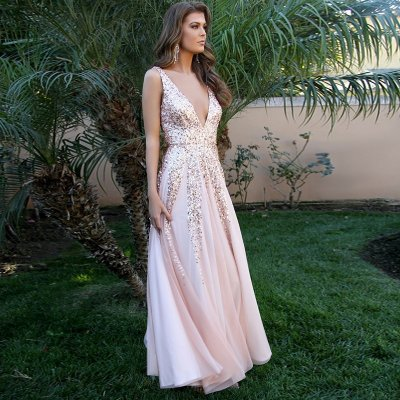 A-Line Deep V-Neck Backless Long Pink Prom Dress with Sequins