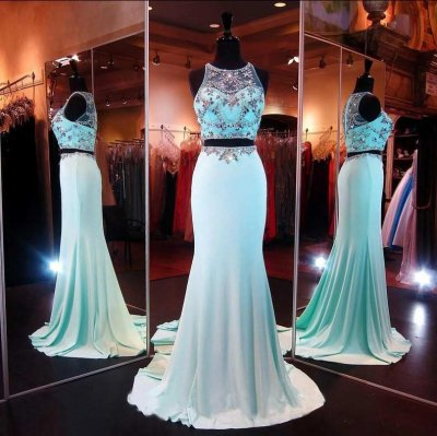 A-Line Scoop Sweep Train Chiffon Sky Blue Prom Dress With Beading