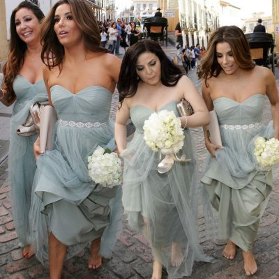 Fashion Sweetheart Ruffles Tulle Grey Long Bridesmaid Dress With Rhinestones Belt