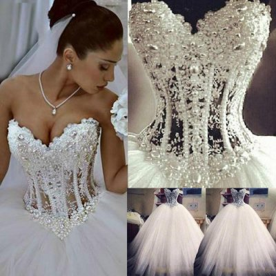Luxurious Sweetheart Tulle Ball Gown Wedding Dress for Bridal
