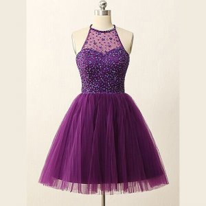 Elegant Halter Short Illusion Back Purple Homecoming Dresses with Rhinestones