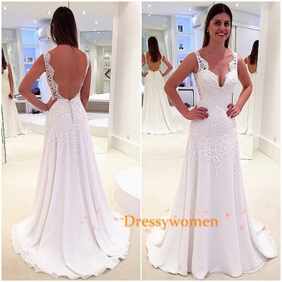 Elegant V -Neck Modern Style Open Back Chiffon Lace Wedding Dresses SAWD-30233 with Appliques