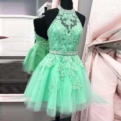 Mint Green Short Backless Prom Homecoming Dress - Halter with Appliques Beading