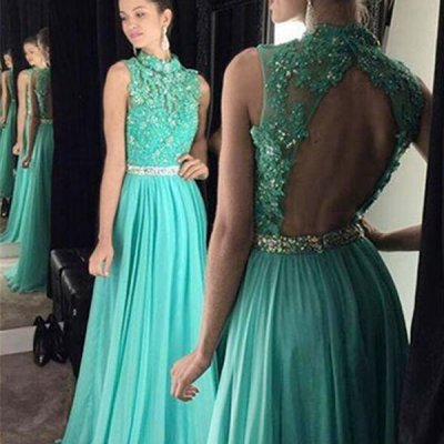 A-line Turquoise High Neck Open Back Long Prom Dress with Beading Appliques