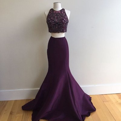 Two Piece Mermaid Jewel Grape Satin Prom Dress with Beading Open Back