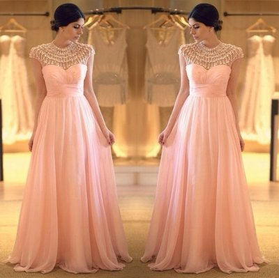Unique A-Line Jewel Floor Length Cap Sleeves Chiffon Pink Prom Dress With Beading