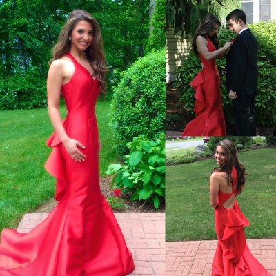 Fabulous V-neck Court Train Red Mermaid Prom/Evening Dresses with Ruffles