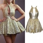 Hot Selling Halter Sleeveless Short Gold Sequins Homecoming Dress with Key Hole